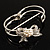 Prom Crystal Simulated Pearl Bow Hinged Bangle Bracelet (Silver Tone) - view 11