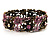 Victorian Pink Crystal Floral Flex Cuff Bangle (Bronze Tone) - view 7