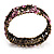 Victorian Pink Crystal Floral Flex Cuff Bangle (Bronze Tone) - view 9