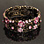 Victorian Pink Crystal Floral Flex Cuff Bangle (Bronze Tone) - view 3