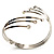 Silver Tone Crystal Armlet Bangle - Adjustable - view 8