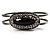 Vintage Black Oval Diamante Hinged Bangle Bracelet (Antique Silver Tone) - view 9