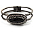 Vintage Black Oval Diamante Hinged Bangle Bracelet (Antique Silver Tone) - view 2