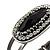 Vintage Black Oval Diamante Hinged Bangle Bracelet (Antique Silver Tone) - view 8