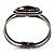 Vintage Black Oval Diamante Hinged Bangle Bracelet (Antique Silver Tone) - view 3