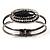 Vintage Black Oval Diamante Hinged Bangle Bracelet (Antique Silver Tone) - view 7