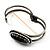 Vintage Black Oval Diamante Hinged Bangle Bracelet (Antique Silver Tone) - view 5