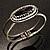 Vintage Black Oval Diamante Hinged Bangle Bracelet (Antique Silver Tone) - view 6