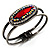 Vintage Red Oval Diamante Hinged Bangle Bracelet (Antique Silver Tone)