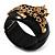 Black Resin Crystal 'Tiger' Hinged Bangle (Gold Tone) - Catwalk 2014 - view 16