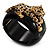 Black Resin Crystal 'Tiger' Hinged Bangle (Gold Tone) - Catwalk 2014 - view 1