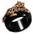 Black Resin Crystal 'Tiger' Hinged Bangle (Gold Tone) - Catwalk 2014 - view 15