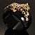 Black Resin Crystal 'Tiger' Hinged Bangle (Gold Tone) - Catwalk 2014 - view 17