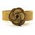 Antique Yellow Acrylic Rose Cuff Bangle - view 4