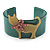 Kitty With Crystal Bow Teal Plastic Cuff Bangle - view 3