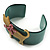 Kitty With Crystal Bow Teal Plastic Cuff Bangle - view 4