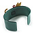 Kitty With Crystal Bow Teal Plastic Cuff Bangle - view 5