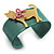 Kitty With Crystal Bow Teal Plastic Cuff Bangle - view 2