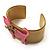 Kitty With Crystal Bow Mustard Plastic Cuff Bangle - view 3
