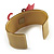 Kitty With Crystal Bow Mustard Plastic Cuff Bangle - view 4