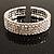 4-Row Cubic Zirconia Flex Bangle Bracelet (Silver Tone)