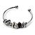 Silver Tone Black Glass & Metal Bead Cuff Bangle