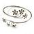 Rhodium Plated Diamante Floral Upper Arm Bracelet - view 7