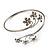 Rhodium Plated Diamante Floral Upper Arm Bracelet - view 4
