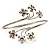 Rhodium Plated Diamante Floral Upper Arm Bracelet - view 3