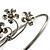 Rhodium Plated Diamante Floral Upper Arm Bracelet - view 6