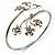 Rhodium Plated Diamante Floral Upper Arm Bracelet - view 8