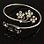 Rhodium Plated Diamante Floral Upper Arm Bracelet - view 10
