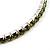 Light Olive Crystal Thin Flex Bangle Bracelet (Silver Tone) - view 2