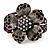 Striking Diamante Flower Hinged Bangle Bracelet ( Burn Silver & Deep Purple) - view 7