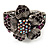 Striking Diamante Flower Hinged Bangle Bracelet ( Burn Silver & Deep Purple) - view 12