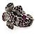 Striking Diamante Flower Hinged Bangle Bracelet ( Burn Silver & Deep Purple) - view 13