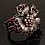 Striking Diamante Flower Hinged Bangle Bracelet ( Burn Silver & Deep Purple) - view 15