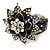 Divine AB Crystal Flower Hinged Bangle Bracelet (Burn Silver) - view 11