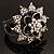 Divine AB Crystal Flower Hinged Bangle Bracelet (Burn Silver) - view 5