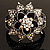 Divine AB Crystal Flower Hinged Bangle Bracelet (Burn Silver) - view 9