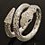 Dazzling Coil Flex Snake Bangle Bracelet (Silver Tone) - view 13
