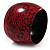 Oversized Chunky Wide Wood Bangle (Black & Red) - Medium Size - view 3