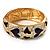 Light Cream & Purple Enamel Crystal Heart Hinged Bangle Bracelet (Gold Tone)