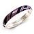 Stripy Purple Enamel Hinged Bangle Bracelet (Silver Tone)