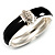 Statement Black Enamel Crystal Hinged Bangle Bracelet (Silver Tone)