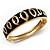 Jet Black Ornamental Enamel Hinged Bangle Bracelet (Gold Tone)