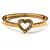 Romantic Crystal Heart Hinged Bangle Bracelet (Gold Tone)