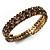Burn Gold Amber Coloured Crystal Multistrand Flex Bangle Bracelet - view 11