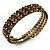 Burn Gold Amber Coloured Crystal Multistrand Flex Bangle Bracelet - view 3
