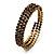 Burn Gold Amber Coloured Crystal Multistrand Flex Bangle Bracelet - view 6